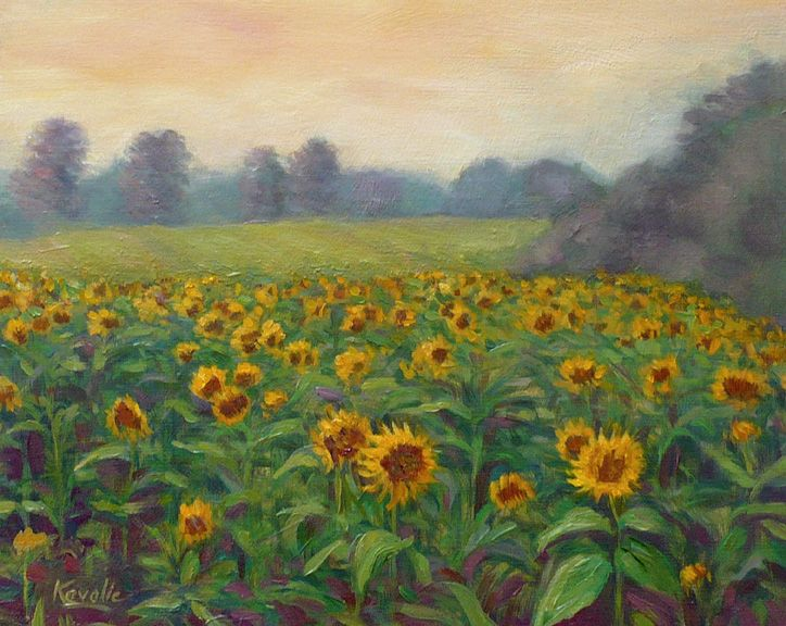 Field Of Sunflowers Painting Field Of Sunflowers Sunflower