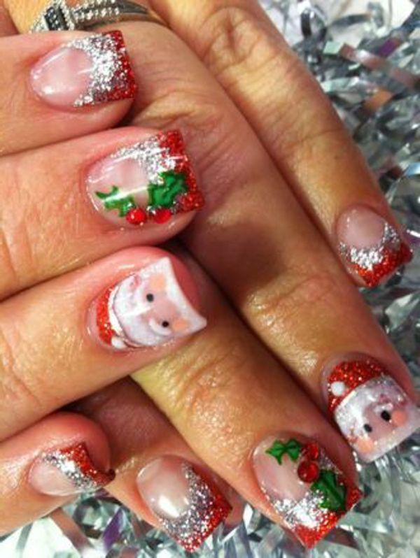 gel nagel muster weihnachtsmann - Gelnagel Muster