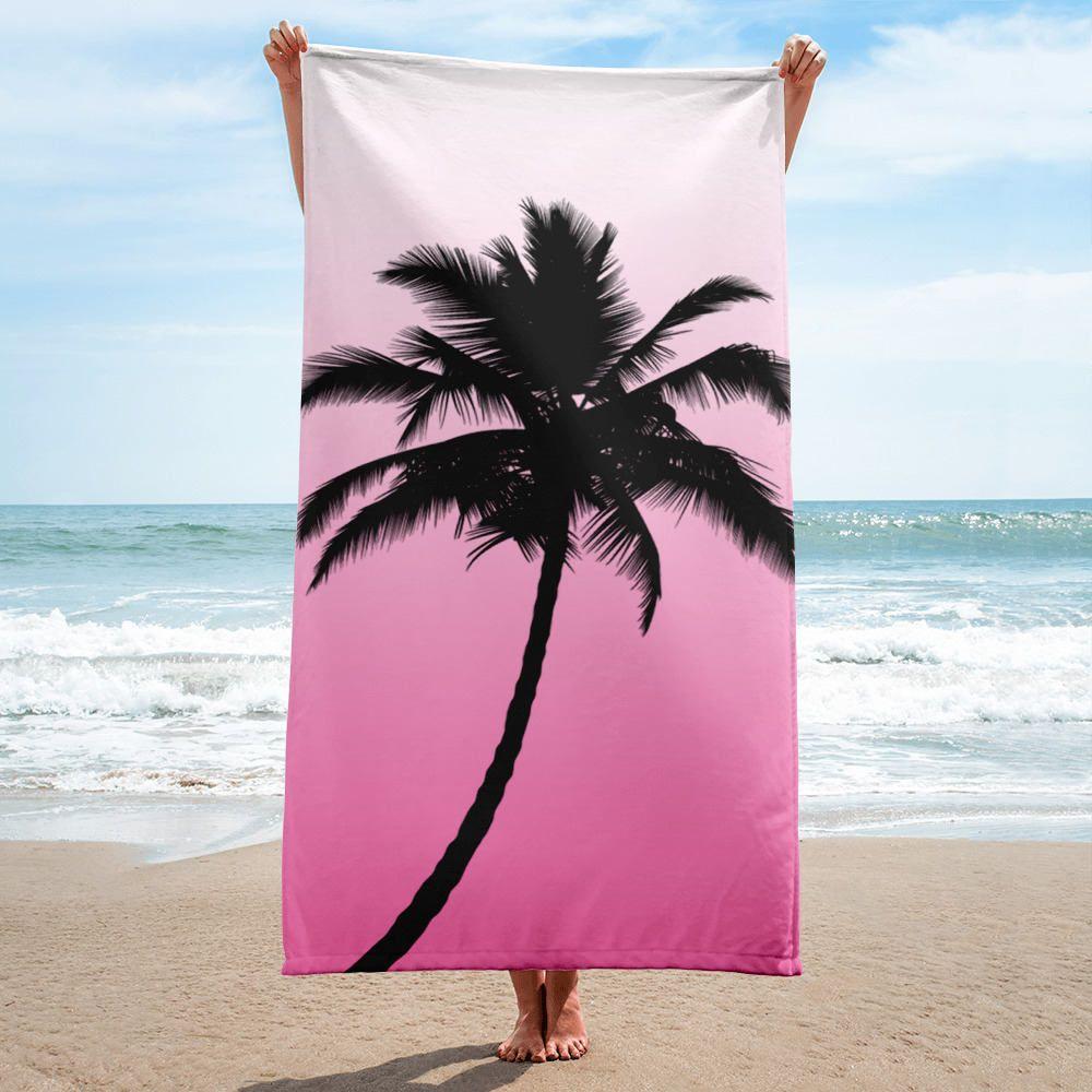 Beach Towel Spring Break Palm Tree Pink Towel Vacation Travel Items Custom Beach Towel By Canvasandmorebyaly Custom Beach Towels Pink Towels Beach Towel