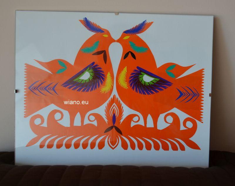 Wycinanka kurpiowska - ptaki, oprawiona w antyramę
