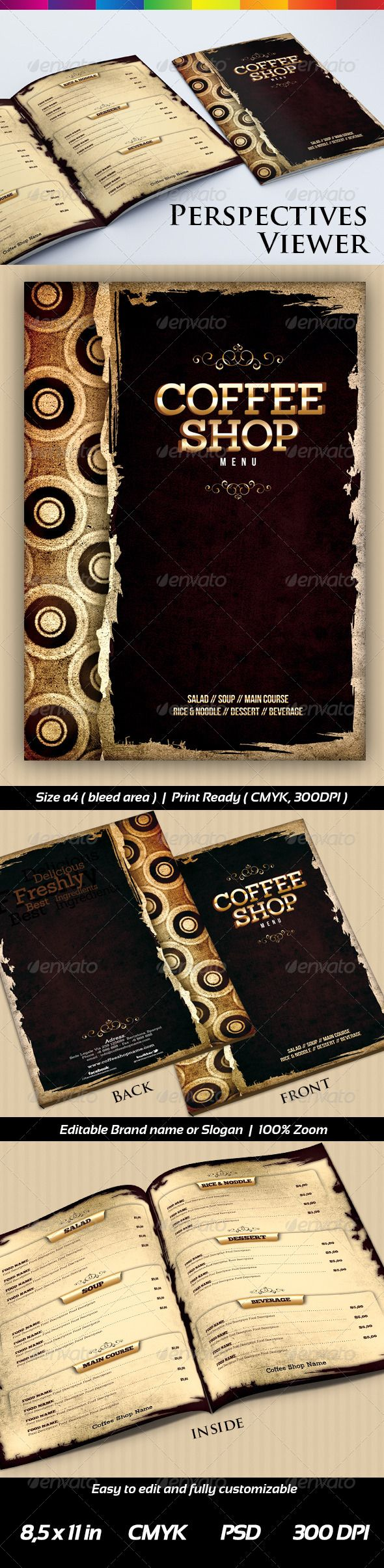 Coffee Shop #Menu Templates  - #Food Menus Print #Templates Download here: https://graphicriver.net/item/coffee-shop-menu-templates-/6641630?ref=alena994