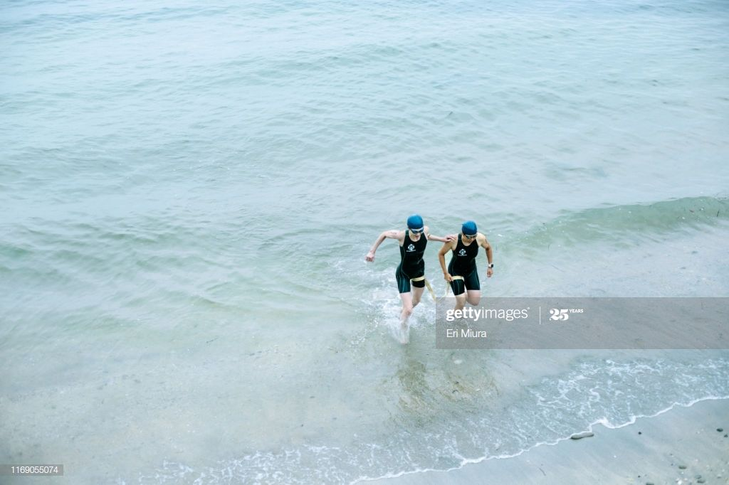 Visually Impaired Female Triathlete With Her Guide Coming Up From The Sea Photog #Ad, , #affiliate, #Female, #Triathlete, #Visually, #Impaired