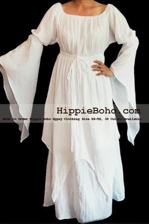 fe6265d588a No.306 - Size XS-7X Hippie Boho Bohemian Gypsy White Long Sleeve Plus Size  Sundress Pixie Funky Full Skirt