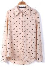 Pink Long Sleeve Dogs Print Rivet Chiffon Blouse $29.35  #SheInside