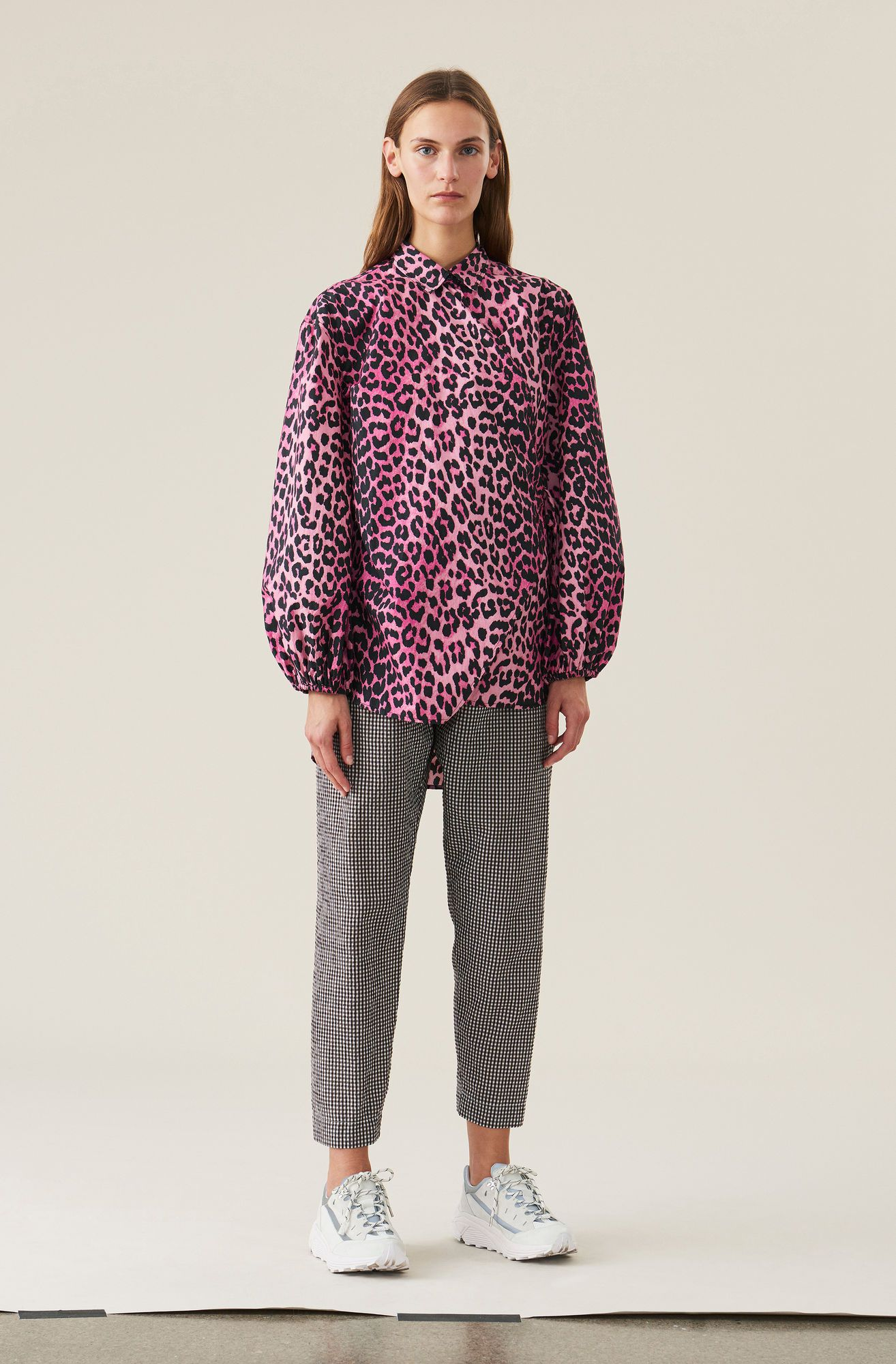 118a15ad9e48 Printed Cotton Poplin Love for Leopard Wrap Shirt, Hot Pink | Woven ...