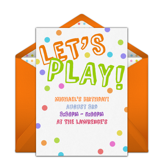 Free lets play invitations free birthday outdoor birthday a great free birthday party invitation featuring a polka dot design we love this for inviting friends to an outdoor birthday party or play date filmwisefo