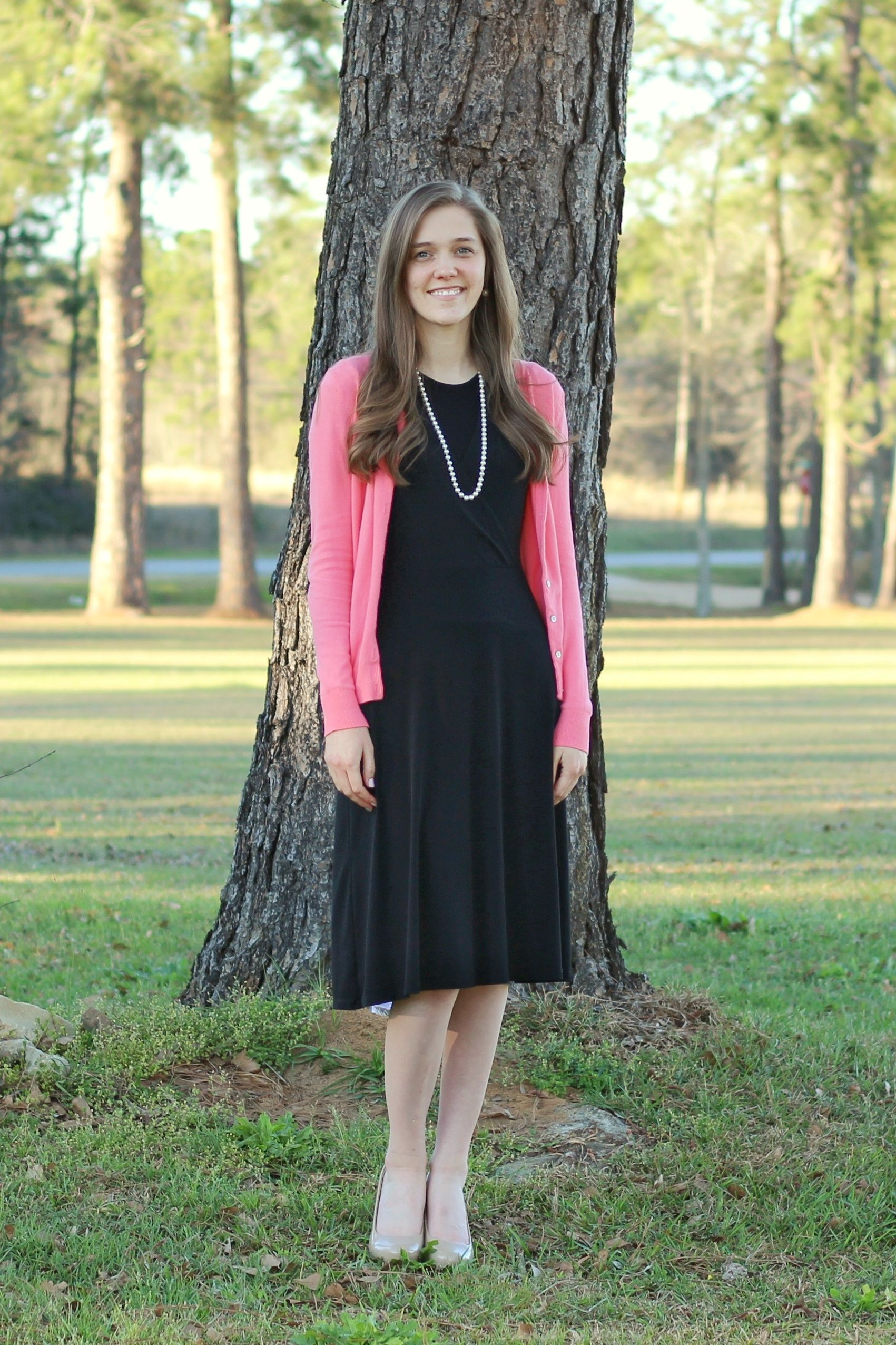 Modest Outfit For Church Black Dress Coral Cardigan Modest Outfits Modest Dresses Outfits [ 2552 x 1701 Pixel ]