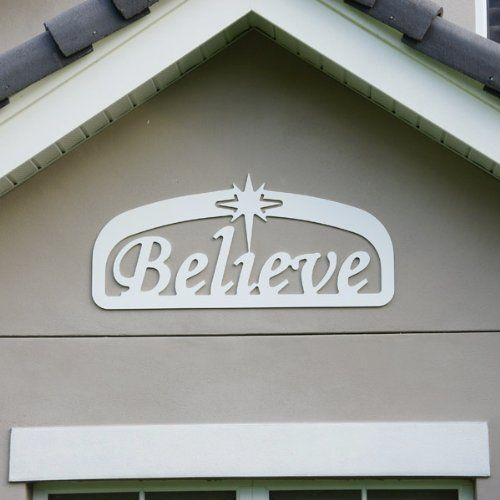 Teak Isle Christmas Outdoor Believe Sign Decoration Large Magnificent Believe Signs Decor