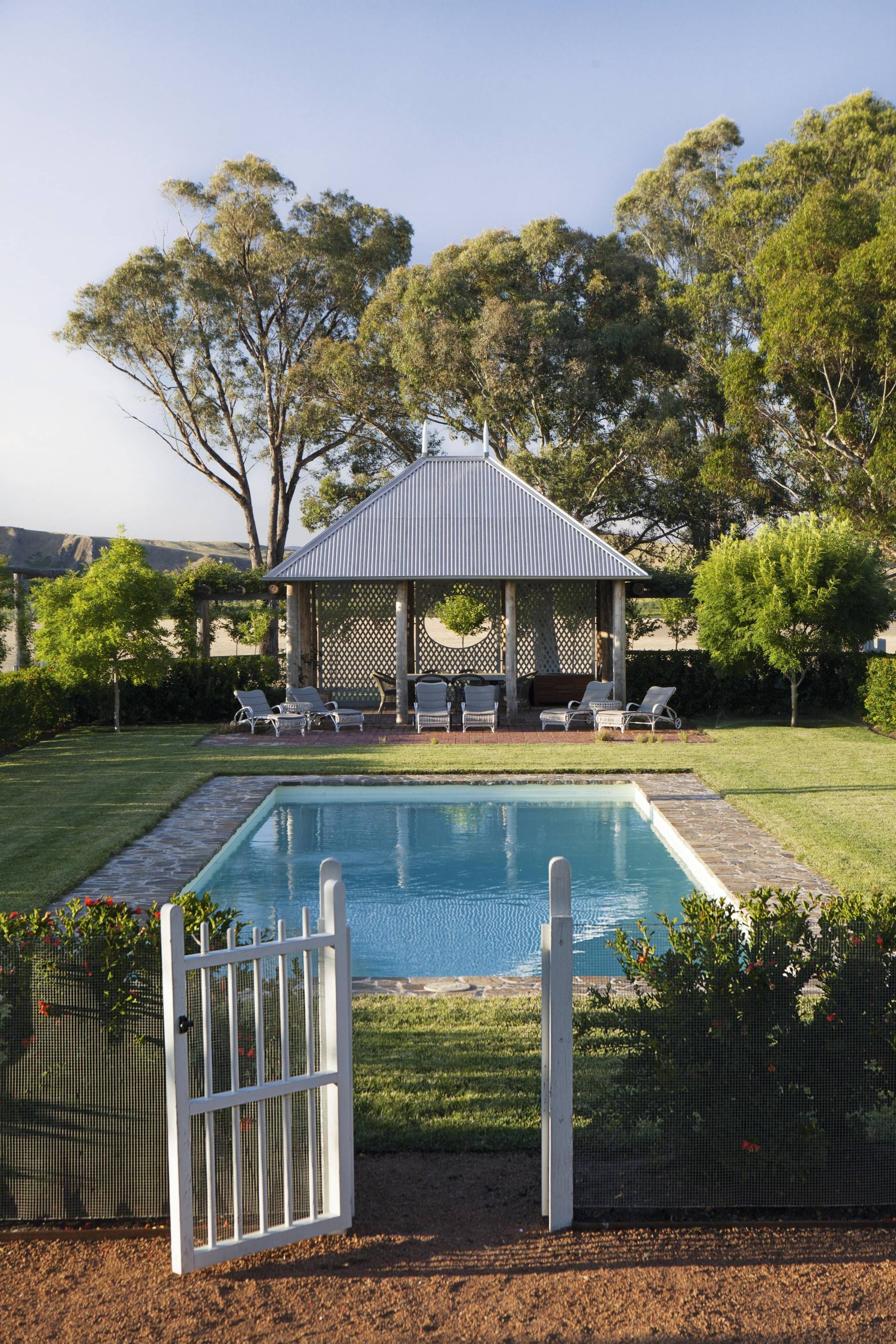 An Extravagantly Romantic Garden Set Against The Dramatic Landscape Of New South Wales Country Pool Landscaping Pool Landscaping Country Pool