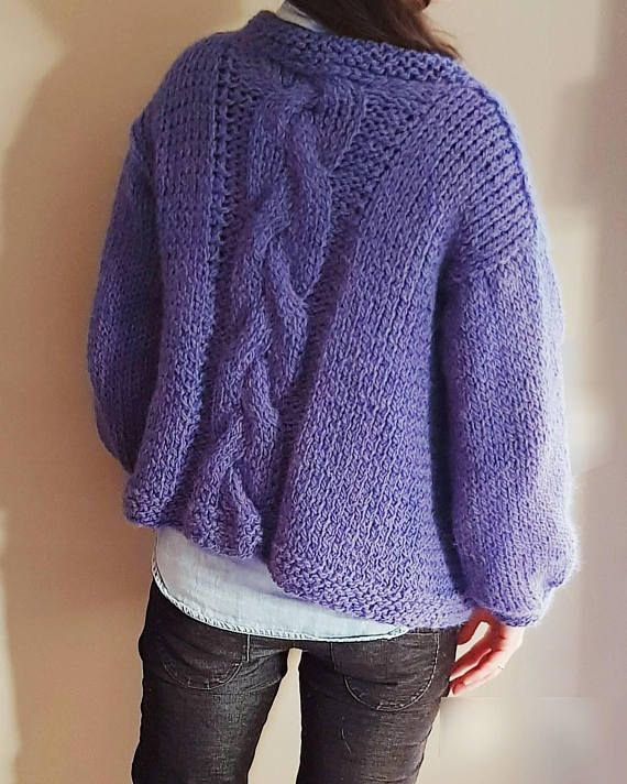 NEW hand knitted chunky alpaca cardigan sweater with