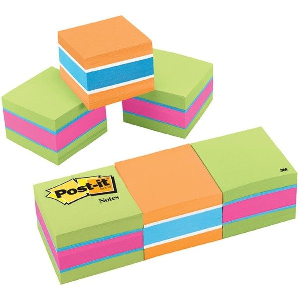 Post-it Notes Cube, 1 7/8 x 1 7/8-Inches, Bright Colors,... ❤ liked on Polyvore featuring home and home decor