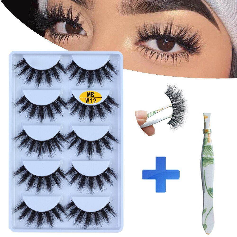 NEW 5 pairs Mink Eyelashes Set 3D 100 False Lashes Makeup Eyelash Extension faux cils Natural fluff