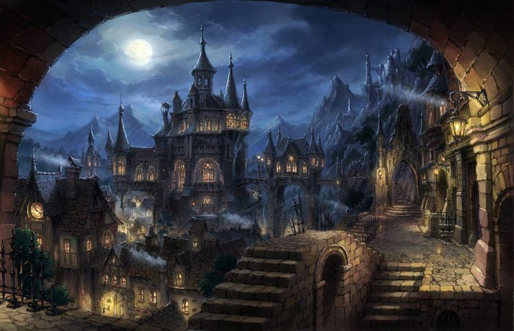Cityscape Dark Fantasy Fantasy Art Hd Wallpaper Desktop Background Fantasy Art Landscapes Fantasy City Dark Fantasy