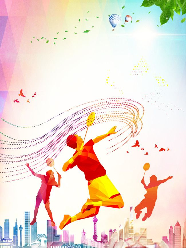 Simple Badminton Sports Fitness Poster Psd Layered Background Badminton Badminton Sport Workout Posters