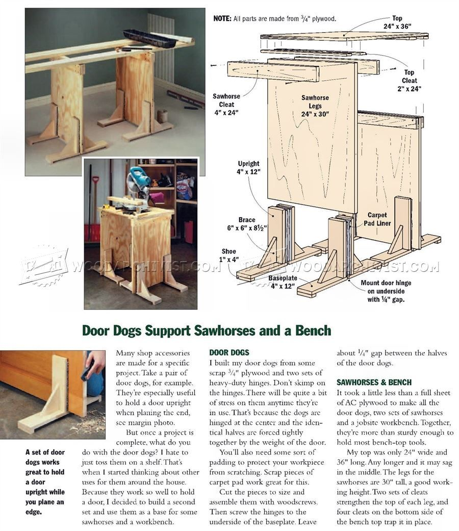 Wondrous Door Dogs Support Sawhorses And Bench Door Construction Ncnpc Chair Design For Home Ncnpcorg