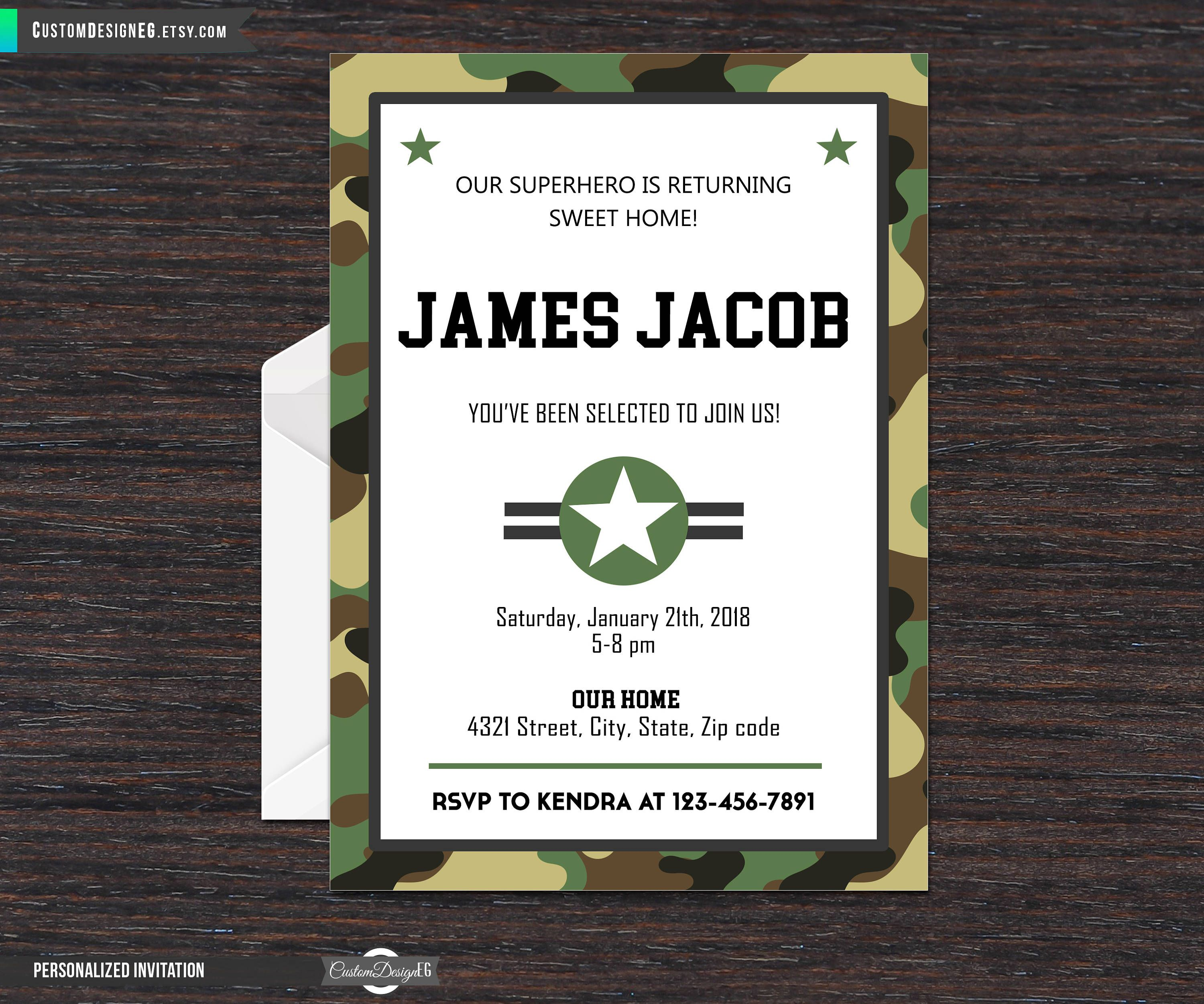Military Welcome Home Party Invitation, Basic Training, Going Away ...