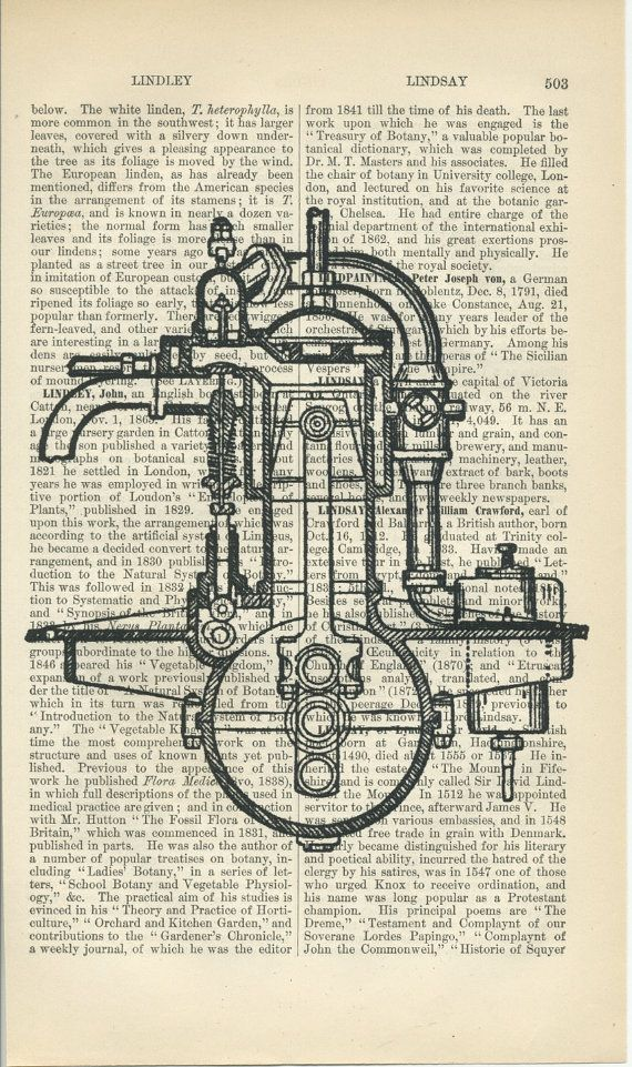 Antique Paper Print Motor Pump Engine Diagram by AntiquePrintArt, $8.00 |  Antique paper, Geek art, Sketch book