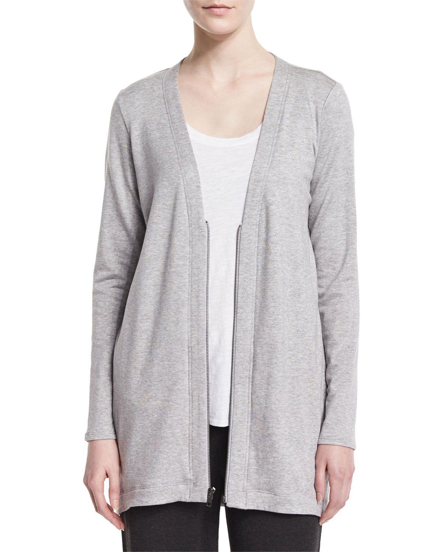 Long Fleece Cardigan, Women's, Size: 1X (14/16), Dark Pearl ...