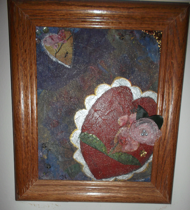 """""""Two Hearts"""" Mixed media collage.  Buy me for $40.00"""