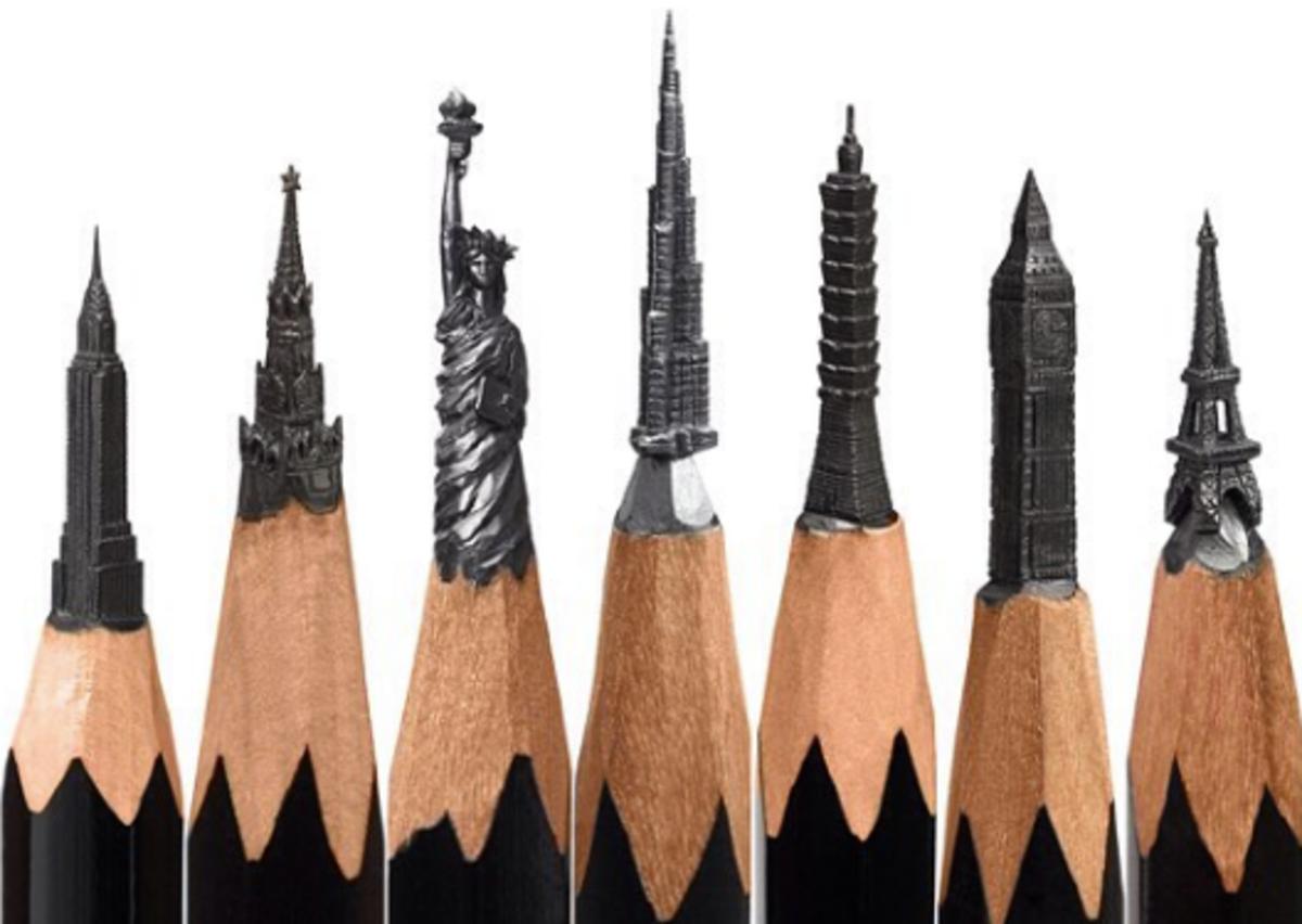 Artist Creates The Most Amazing Intricate Sculptures From Pencils - Artist carves miniature pop culture sculptures into pencils
