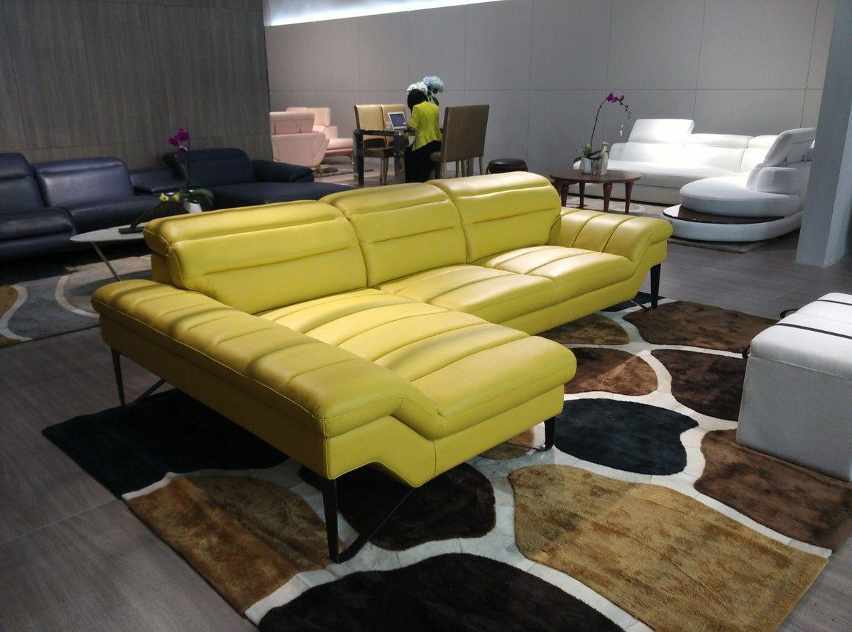 Divani Casa 994B Modern Yellow Leather Sectional Sofa : yellow leather sectional - Sectionals, Sofas & Couches