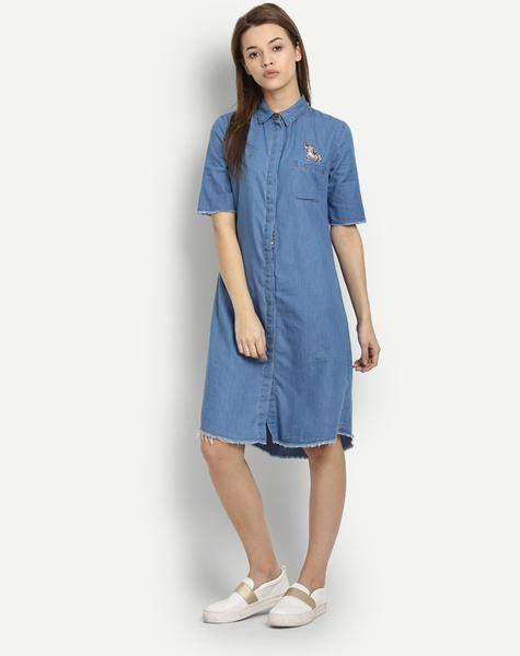 a1cda3f21fa Blue Denim Embroidered Half Sleeves Shirt Dress Designer Midi ...