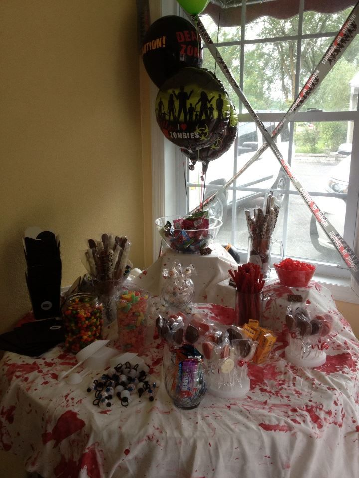 candy buffet for The Walking Dead party Candy Buffet Zombie