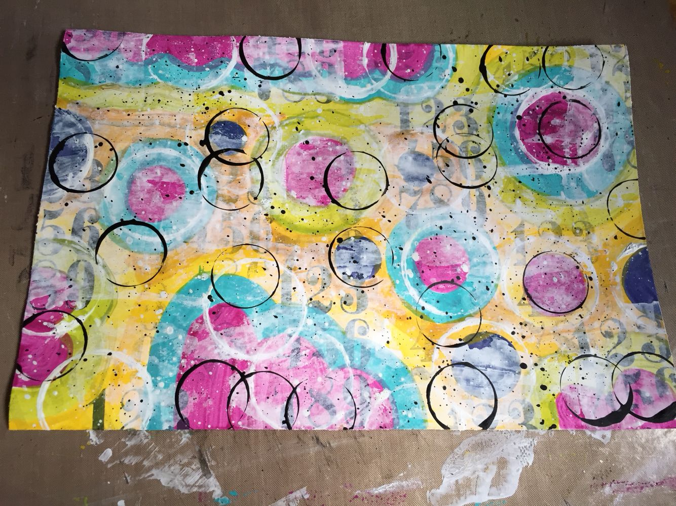 Another mixed media play with paints, inspired by Roben Marie Smith and Emma Godfrey - this one is now wrapped around a glass jar that I keep my paintbrushes in :)
