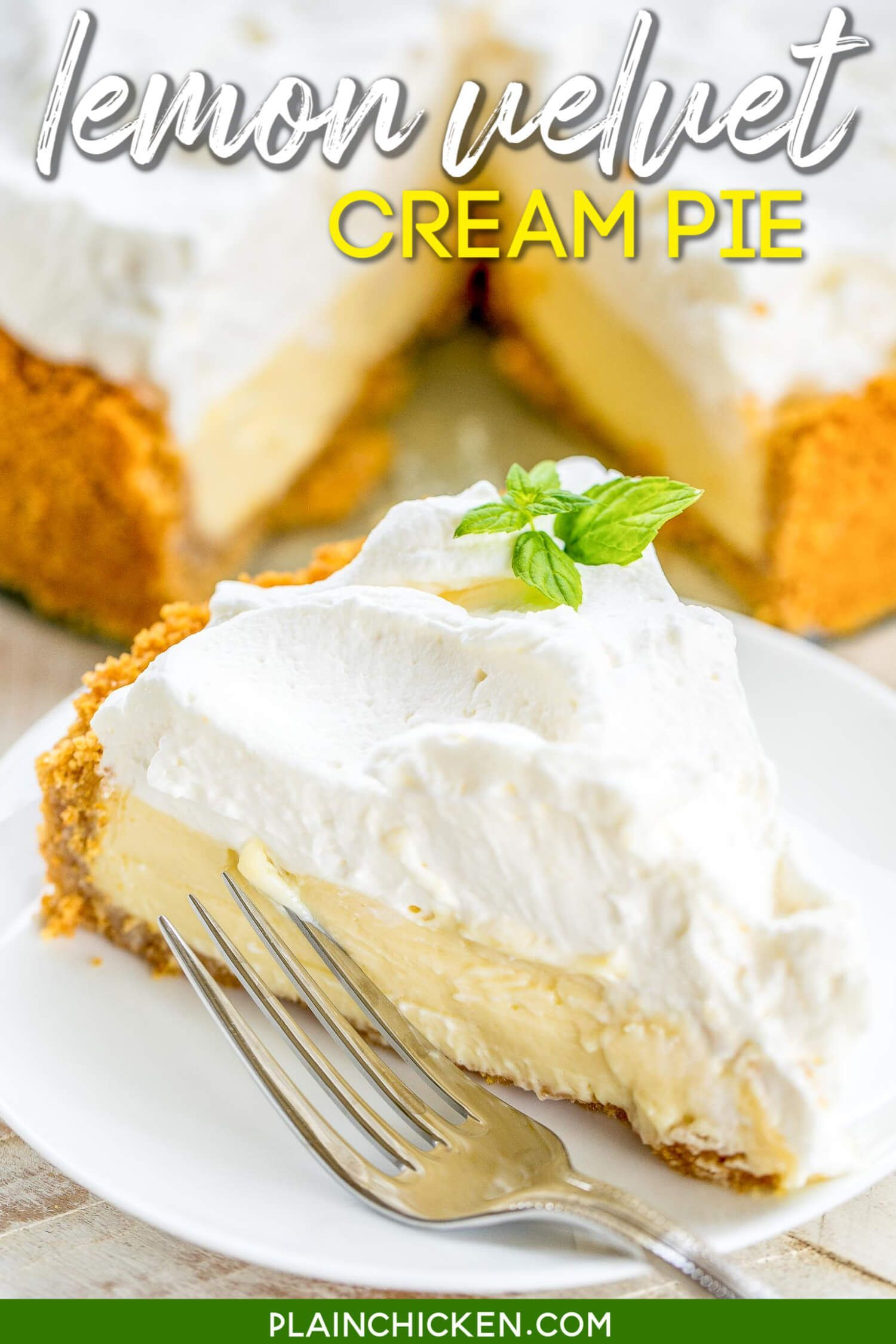 Lemon Velvet Cream Pie Plain Chicken In 2020 Lemon Pie Recipe Condensed Milk Lemon Pie Lemon Pie Recipe