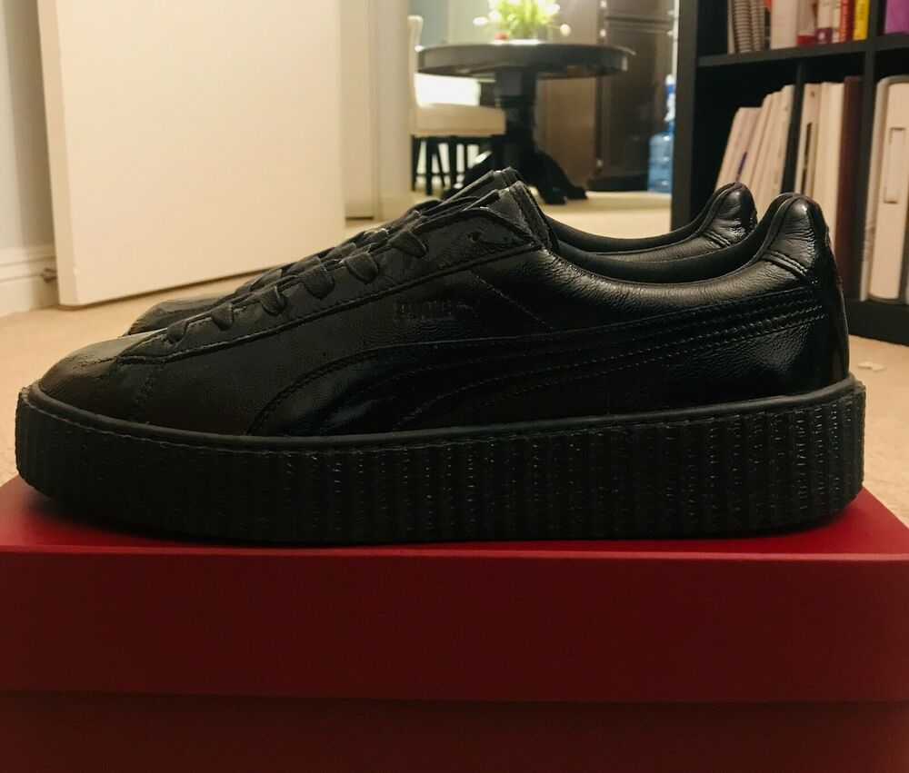 new styles c277e 3d9ee PUMA BY RIHANNA CREEPER CRACKED BLACK LEATHER 364641-01 SZ ...