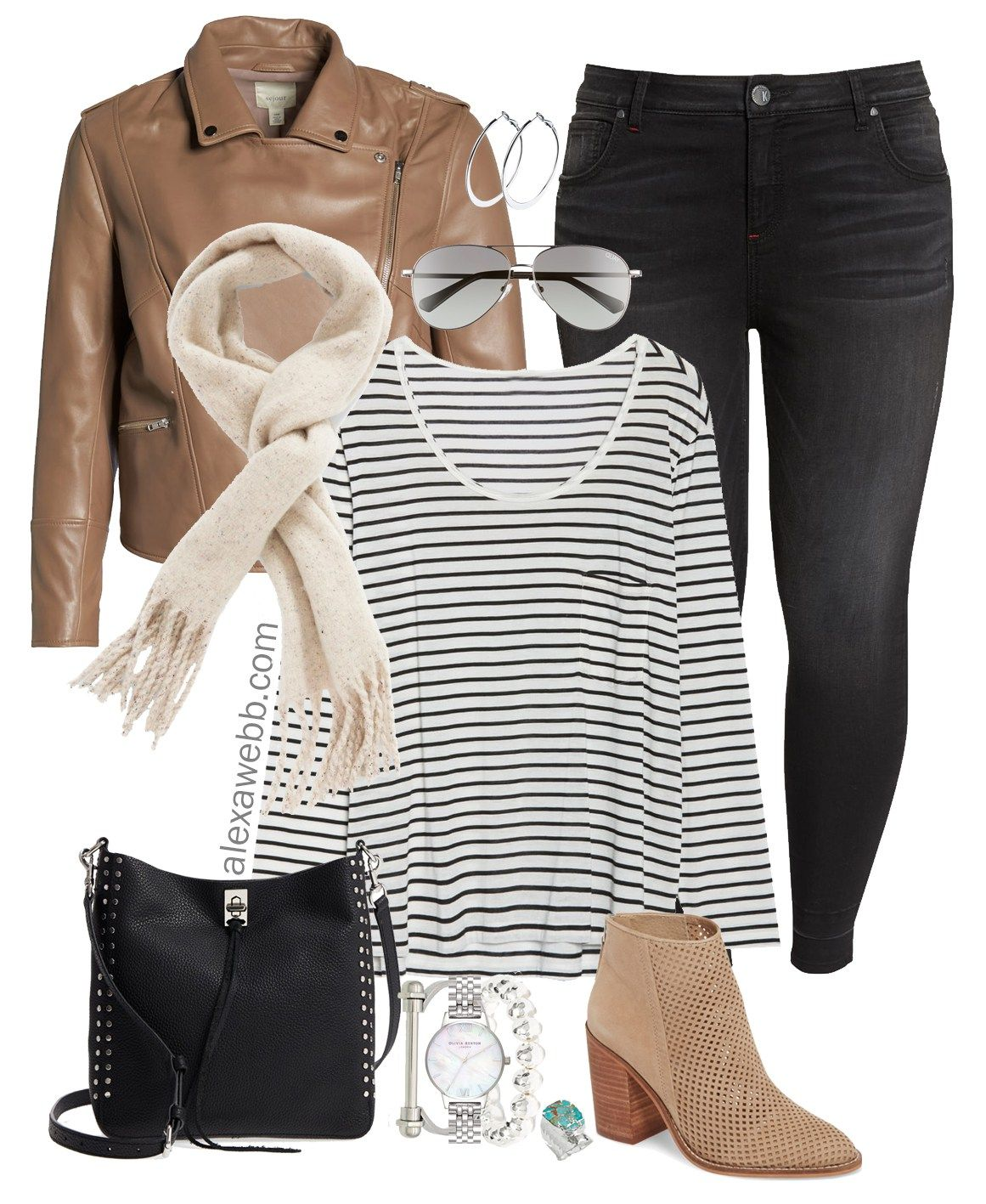Plus Size Brown Leather Jacket Outfit Leather jacket