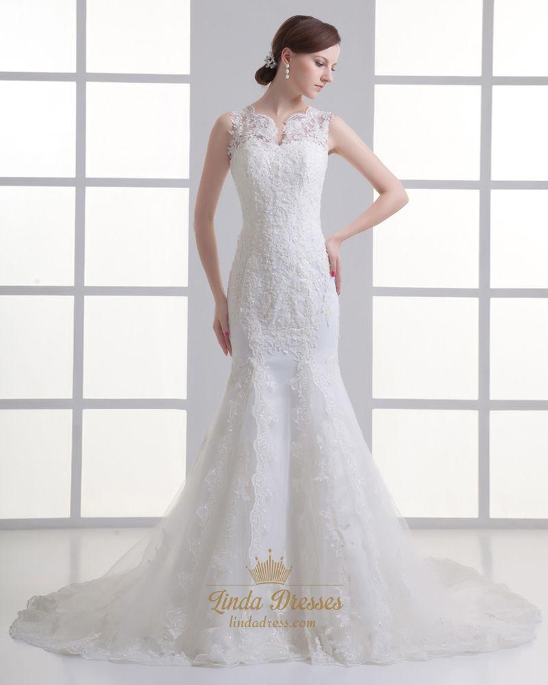 Ivory Mermaid Lace Illusion Neckline Wedding Dress For Petite Brides Wedding Dresses Nontraditional Wedding Dress Lace Mermaid Wedding Dress [ 1000 x 800 Pixel ]