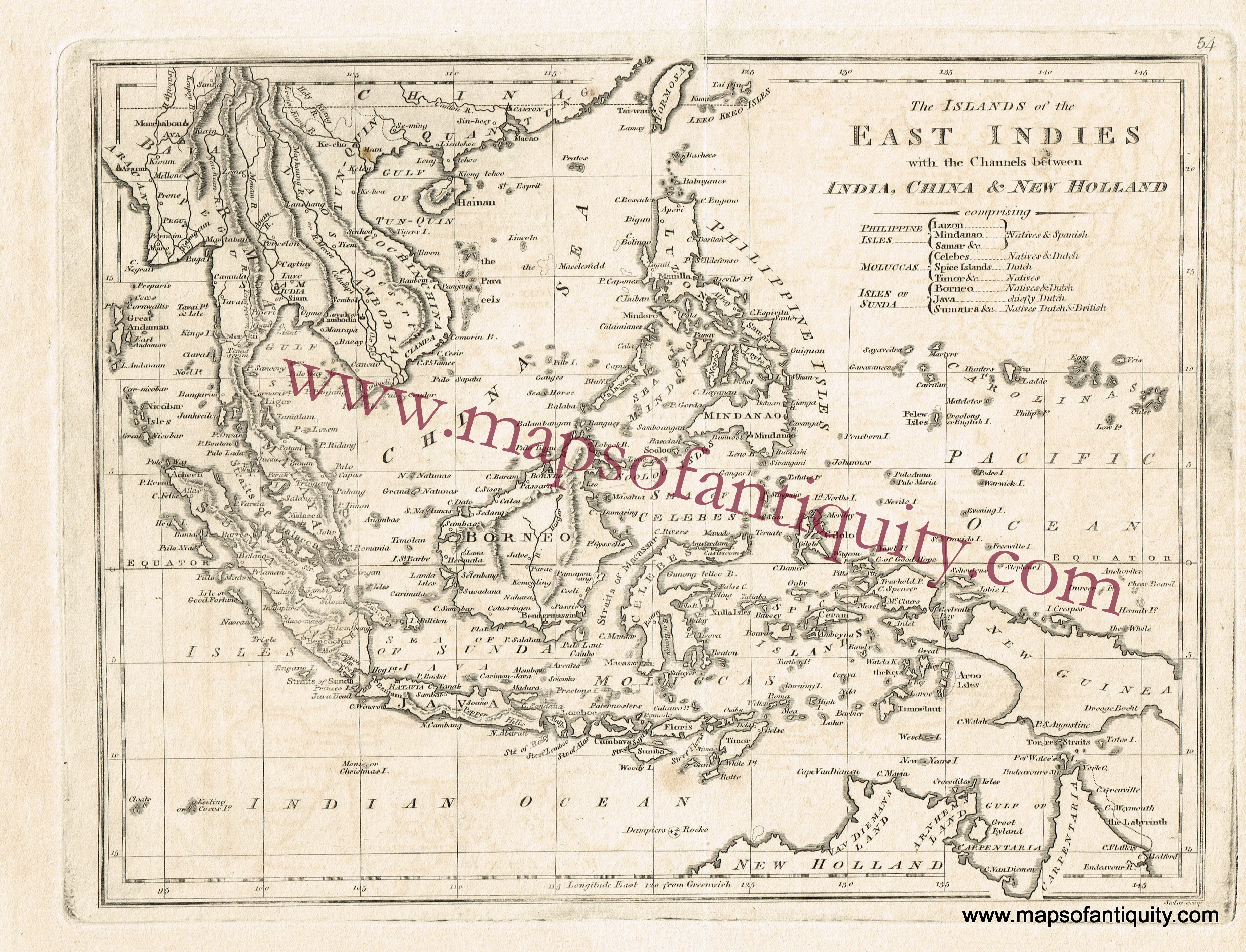 antique 1814 map of the islands of the east indies with the channels in