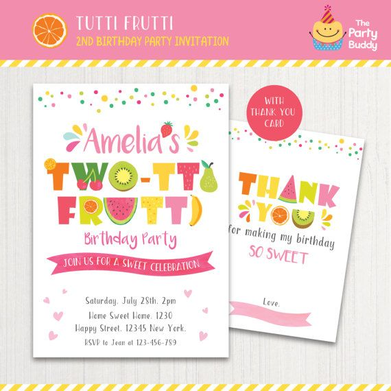 two tti frutti party invitation printable girls 2nd birthday