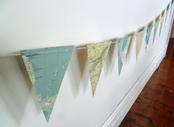 ATLAS BUNTING GARLAND Flags World Map Banner for child's room, nursery, bon voyage gift, party upcycled repurposed