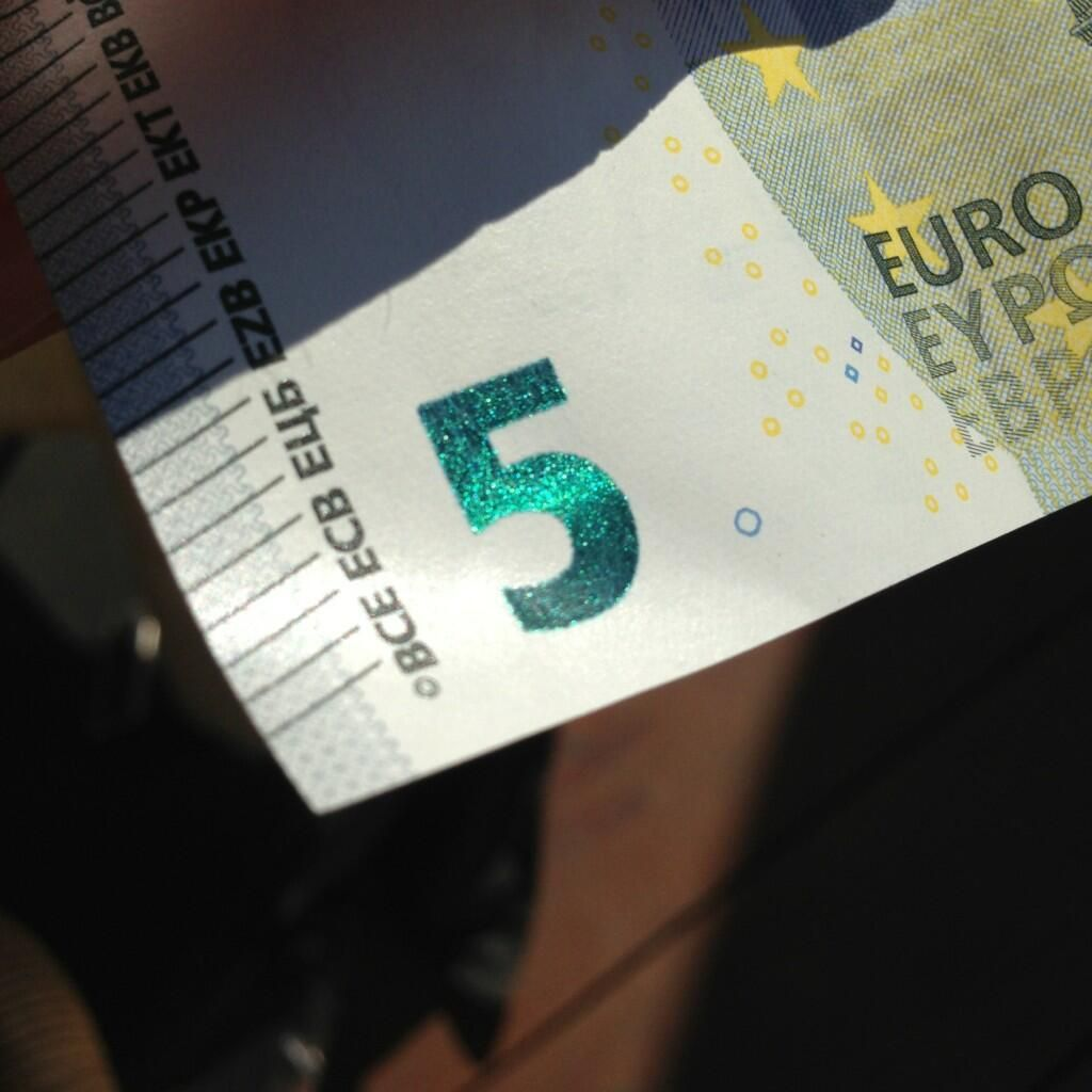 Via @mwatkinsdesign:  just picked up a new 5 euro note in venice complete with glitter type..