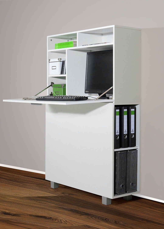 1195-1 moderner Wandsekretär od. PC-Schrank (weiß): Amazon.de: Küche ...