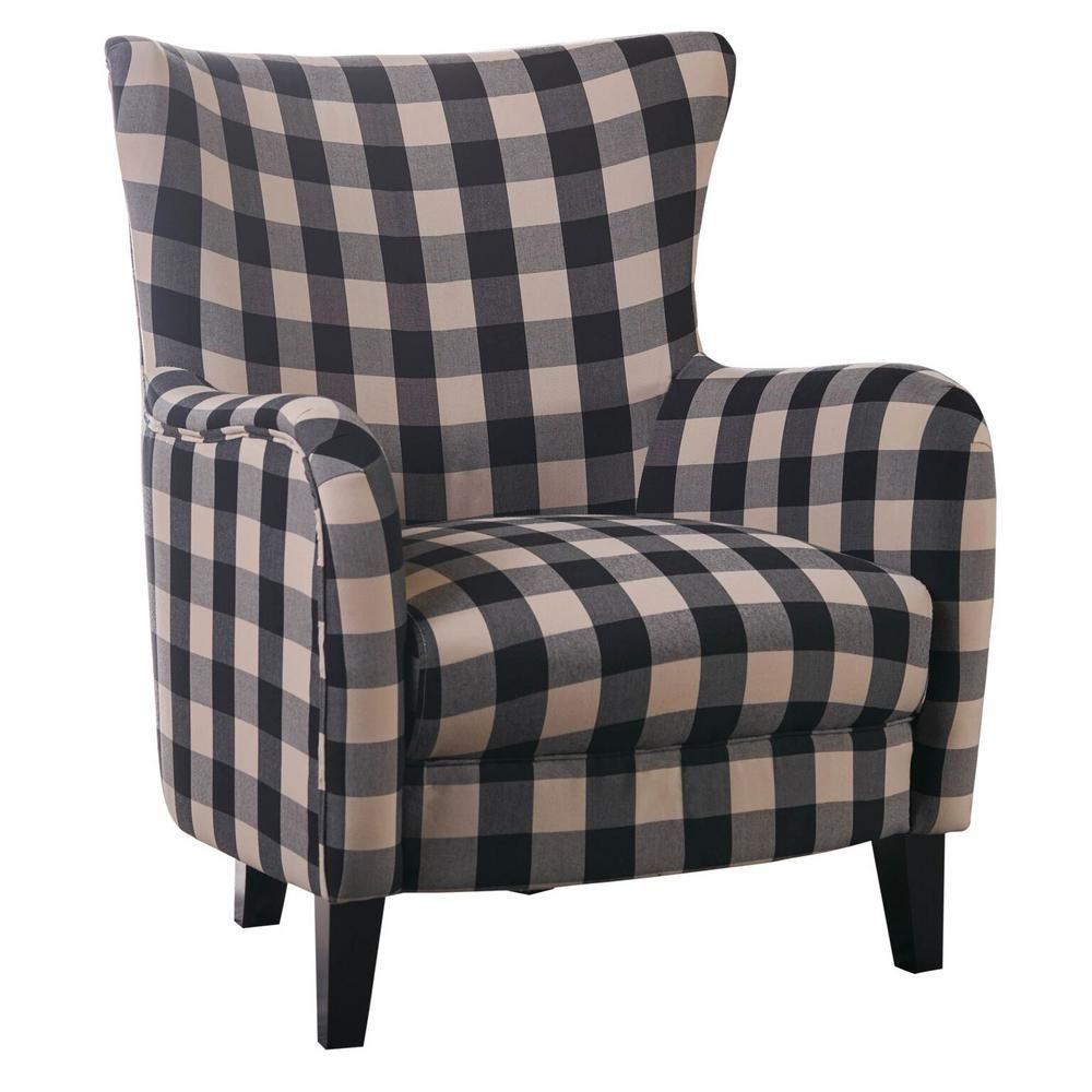 Best Noble House Black And White Plaid Fabric Club Chair 12459 400 x 300