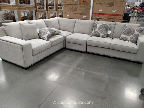Bainbridge 4 Piece Fabric Sectional Costco Grey Sectional Sofa Fabric Sectional Sofas Sectional Sofas Living Room