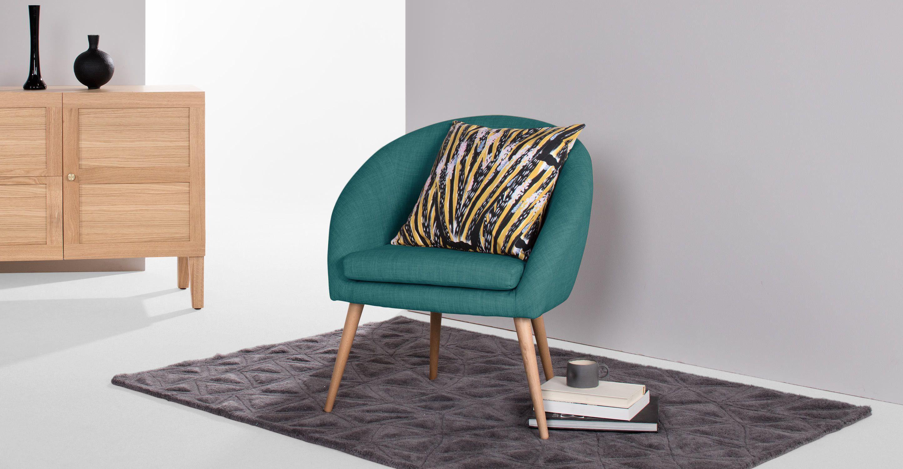 Picerno fauteuil bleu canard sombre made