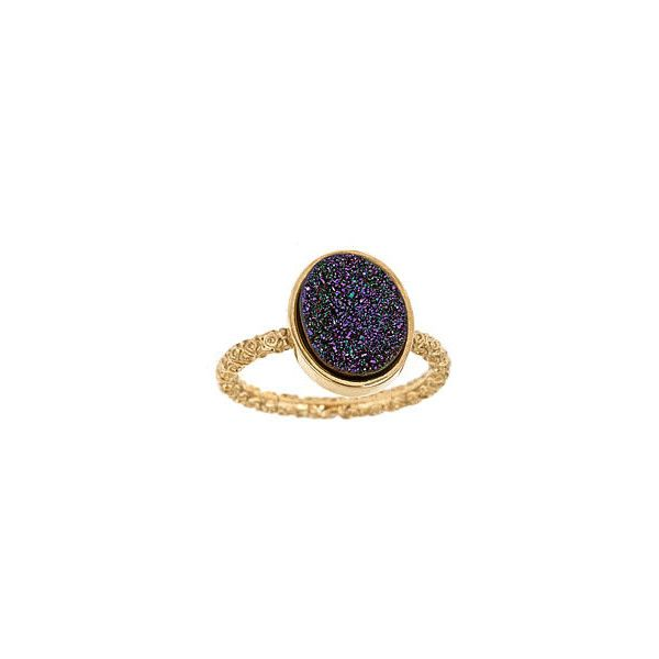 Dara Ettinger Nadia Stackable Purple Druzy Ring ($70) ❤ liked on Polyvore