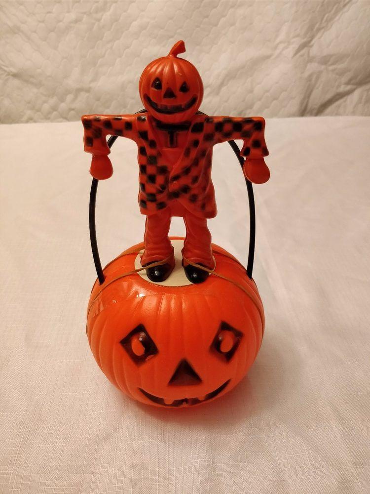 Vintage Halloween Decoration Orange Plastic Pumpkin Vintage - halloween decorations vintage
