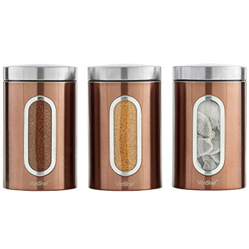 Vonshef Set Of 3 Copper Tea Coffee Sugar Canisters With