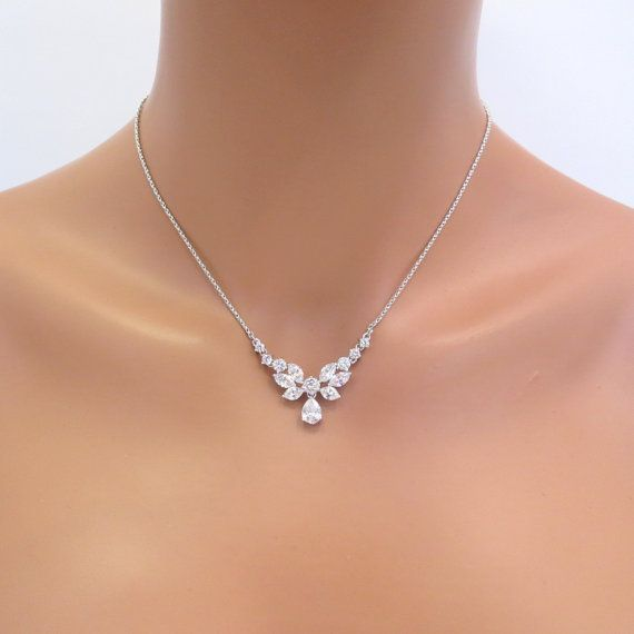 Simple bridal necklace Bridal Rhinestone necklace Dainty Crystal necklace Bridal jewelry Cubi Simple bridal necklace Bridal Rhinestone necklace Dainty Crystal necklace Br...