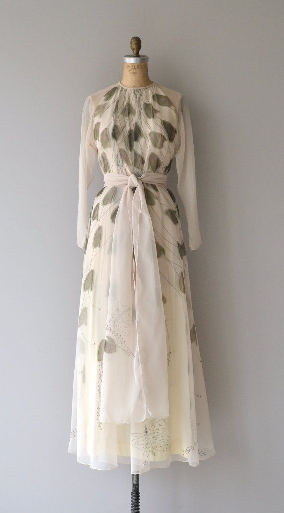 2907fe3201 Vintage 1970s Chester Weinberg silk chiffon maxi dress with muted  watercolor screen print. Sheer layers and with sheer bishop sleeves