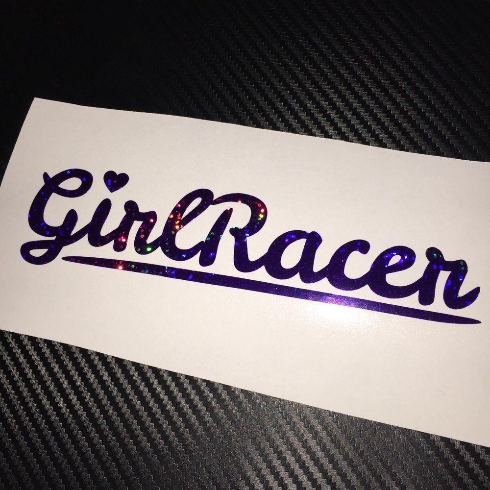 Purple holographic girl racer heart car sticker decal jdm vdub drift track rtape