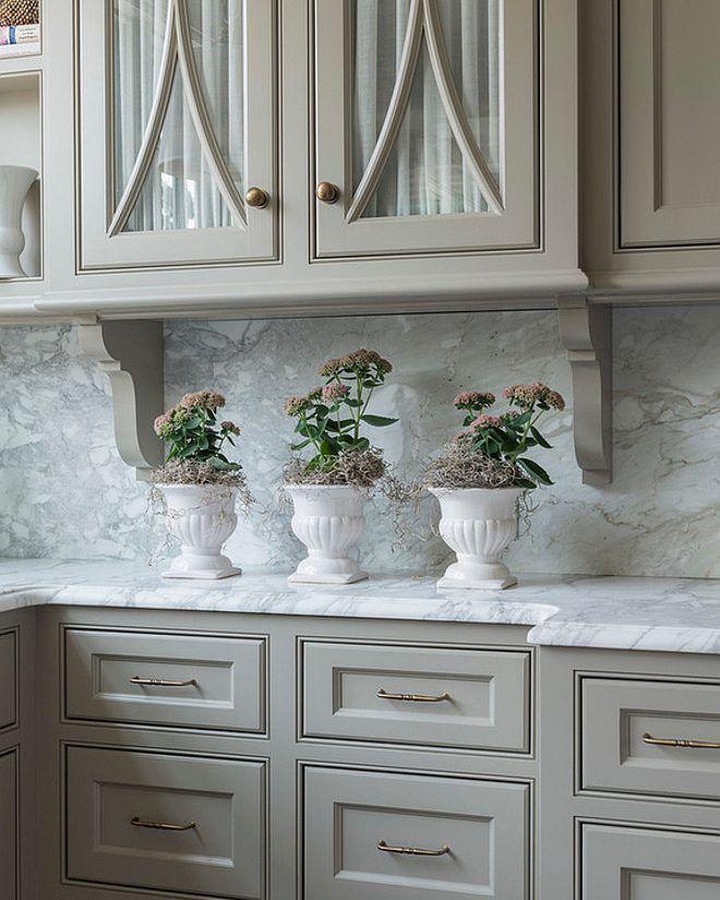 Kitchen cabinet paint color is #BenjaminMooreReverePewter ...