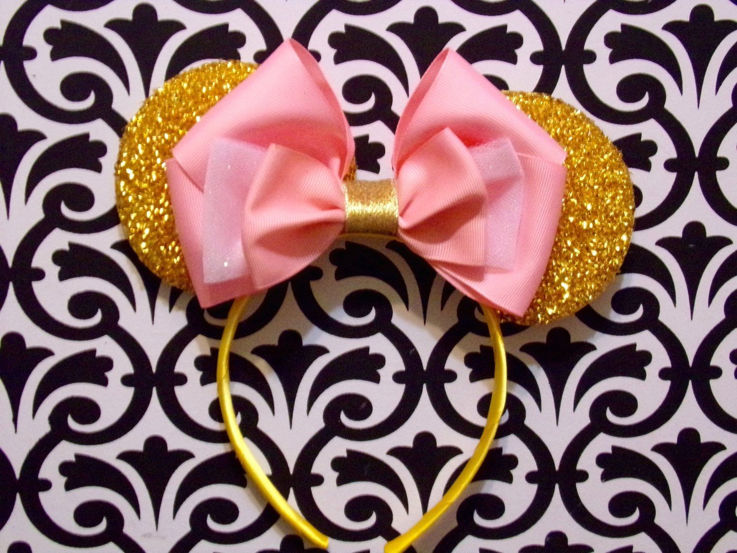 Sleeping Beauty Princess Pink Bow inspired Gold Sparkle Minnie Mouse Headband Ears
