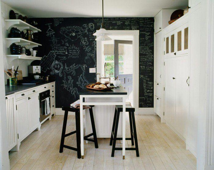 wandgestaltung ideen küche wandtafel holzboden hängelampen offene - offene küche ideen