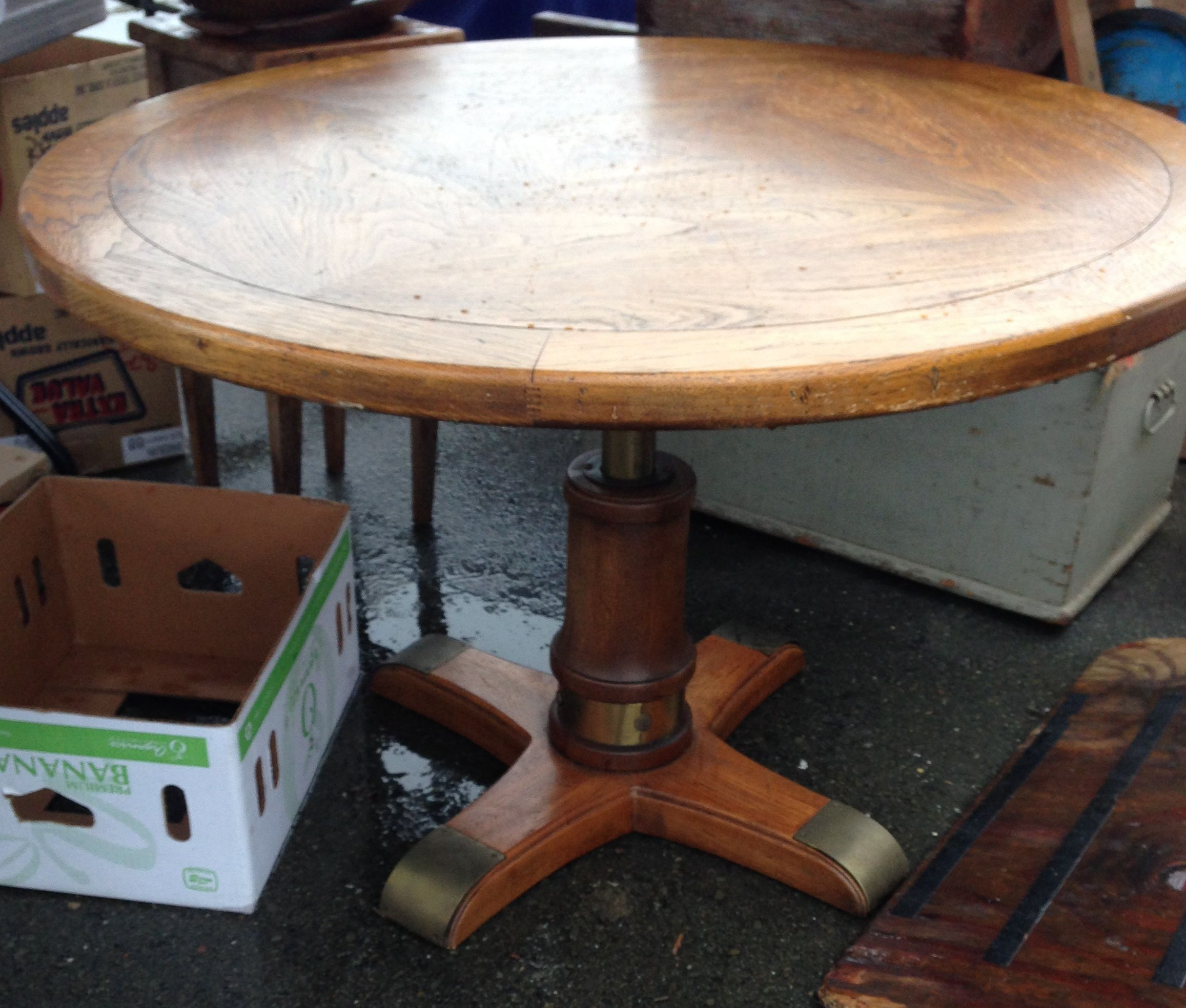 "vintage drexel heritage round, 42"" table with height adjustment"